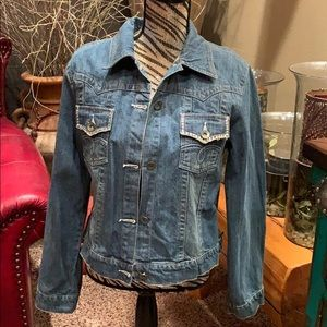 Vintage petrol denim jacket with rhinestones